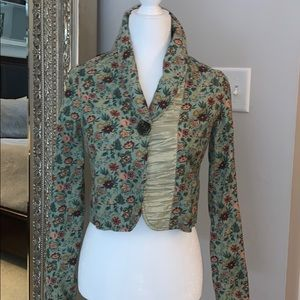Cropped lined floral print jacket